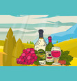 wine table with snacks mountains nature landscape vector image vector image