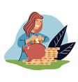 woman saving money putting in piggy bank vector image vector image