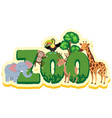 word design for zoo with wild animals vector image vector image