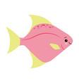 yellow pink fish animals sea vector image