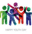youth day card colorful diverse teen group vector image vector image