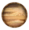 Round wooden barrel background vector image