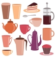 Collection of tea and coffee items vector image