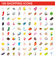 100 shopping set isometric 3d style