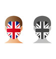 a united kingdom flag on a face on white vector image vector image
