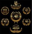 anniversary golden laurel wreath 40 years vector image vector image