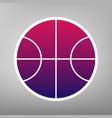 basketball ball sign purple vector image vector image