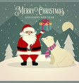 beautiful retro christmas card with polar bear vector image