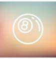 Billiard ball thin line icon vector image