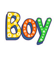 boy poster hand written lettering white vector image vector image