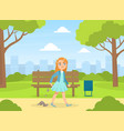 bully girl littering in park kids aggressive vector image vector image