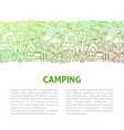 camping line design template vector image vector image