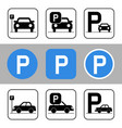 car park icon set vector image