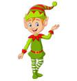 cartoon cute christmas elf presenting vector image vector image