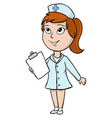 Cartoon nurse with blank tablet vector image vector image