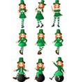 cartoon women leprechaun collection set vector image vector image
