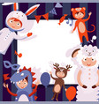 children in costumes animals new years vector image vector image