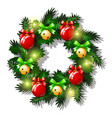 christmas sketch with wreath of fir twigs vector image vector image