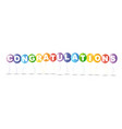colorful balloons and word congratulations vector image vector image