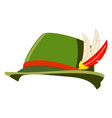 colorful cartoon german feather hat vector image
