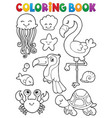 coloring book summer animals theme set 1 vector image vector image