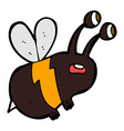 comic cartoon frightened bee vector image vector image