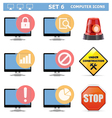 Computer Icons Set 6 vector image vector image