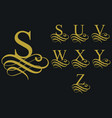 curly font caligraphic alphabet vector image