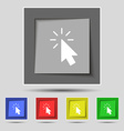 Cursor icon sign on original five colored buttons vector image
