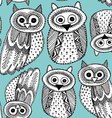 Decorative Hand dravn Cute Owl Sketch Doodle black vector image vector image