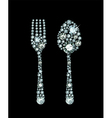 Diamond Fork And Spoon vector image vector image