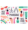 doodle manicure equipment nail manicure tools vector image vector image
