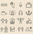 exhibition line icons set broadcasters vector image vector image