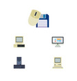 flat icon computer set of computer mouse vector image vector image