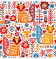 folk plants fox deer flowers seamless pattern vector image