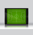 football soccer field on an eletronic device vector image vector image