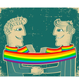Gay couple with rainbow vector image vector image