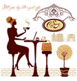 girl drink coffee and work with laptop sitting in vector image vector image