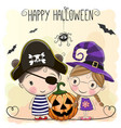 halloween card with two girls vector image vector image