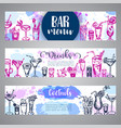 hand drawn cocktails banners sketch alcohol vector image