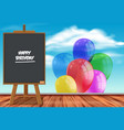 happy birthday card with colorful balloons vector image