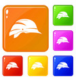 hardhat icons set color vector image vector image