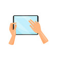 human hand holding digital tablet and touching vector image vector image