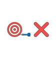 icon concept bulls eye with dart in side vector image vector image