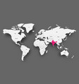 india pink highlighted in map of world light grey vector image vector image