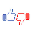 like and unlike icons thumbs up and thumbs down vector image vector image