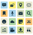 media icons set collection of partnership flag vector image vector image