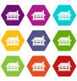 one-storey house with three windows icon set color vector image vector image
