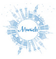 outline munich skyline with blue buildings and vector image vector image