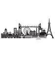 paris city skyline 1 vector image vector image
